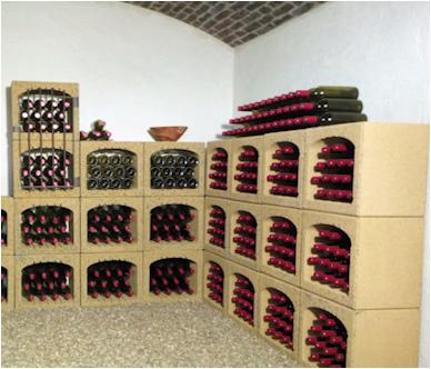 Wijnrek van steen, stenen wijnrek Blocavin in wijnkelder.