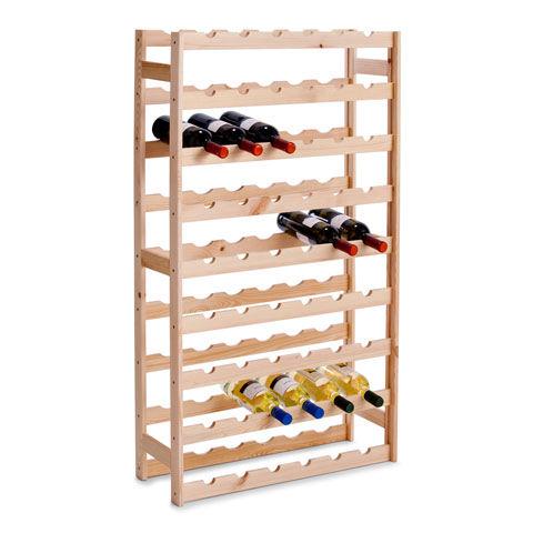 Wijnrek van hout voor 54 flessen